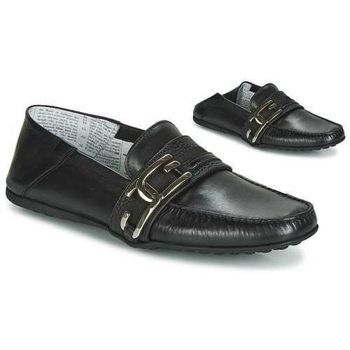John Galliano Men's Black Skin Leather Loafer Mules Black
