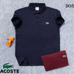 Lacoste Plain Polo Shirt Navy Blue