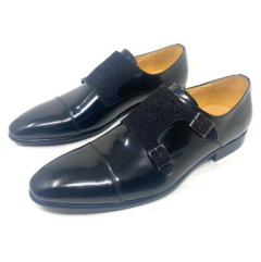 Men's Rossi Rough Sole Leather Shoe Black