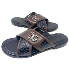 Giampiero Nicola Men's Italian Crossed Leather Sandals Brown