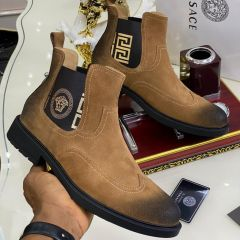 "Versace Suede Ankle Boot ""Brown"""