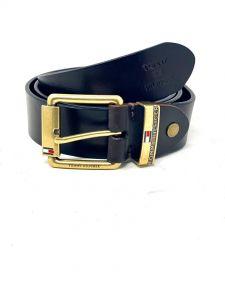"""Tommy Classic Belt Dark Tan """"Gold Head"""""""