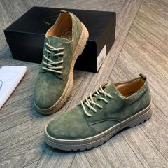 Prada Men Lace Up Casual Sneakers Army Green