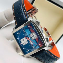 "Tag Heuer Monaco Leather Wrist Watch ""Blue Face"""