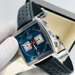 """Tag Heuer Monaco Leather Wrist Watch """"Navy Blue Face"""""""