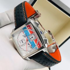 "Tag Heuer Monaco Leather Wrist Watch ""White Face"""