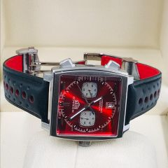 """Tag Heuer Monaco Leather Wrist Watch """"Red Face"""""""
