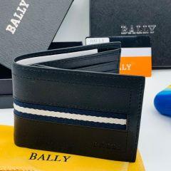 "Bally Leather Slim Bifold Wallet ""Black"""