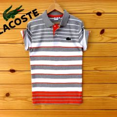 New Lacoste Polo Shirt White Red Navy
