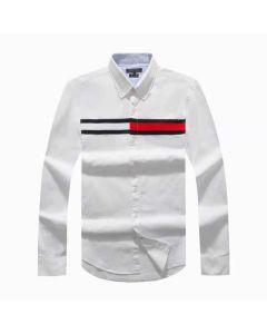 Tommy Hilfiger Cotton Slim Globe Stripe Shirt White