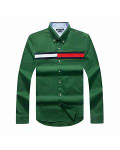 Tommy Hilfiger Cotton Slim Globe Stripe Shirt Green