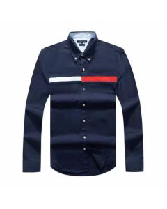 Tommy Hilfiger Cotton Slim Globe Stripe Shirt Navy Blue