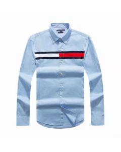 Tommy Hilfiger Cotton Slim Globe Stripe Shirt Sky Blue
