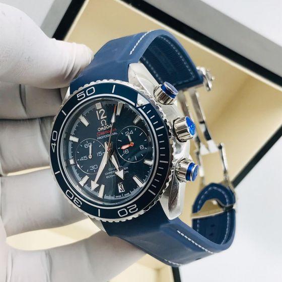 Omega Seamaster Chronograph Wrist Watch Navy Blue Strap