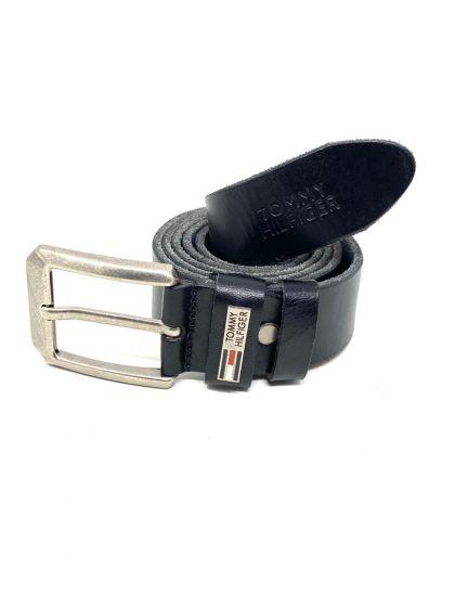 "Tommy Classic Belt Black ""Silver Head"""